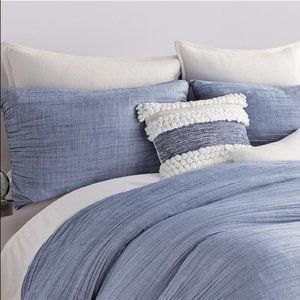 DKNY City Pleat Blue King Pillow Sham Cover NWT